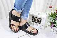 Черные кожаные шлепки на танкетке 4Shoes 08761-Black, фото 6