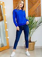 Синий женский свитшот с круглой горловиной размер S, М, L