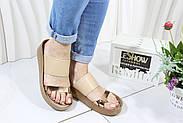 Светлые женские шлепанцы 4shoes 08761-Wore-Creme, фото 6