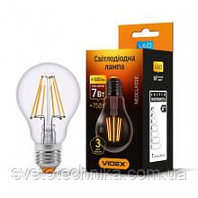 Лампа Эдисона филамент  Videx  A60F 6w E27 4100K прозрачный