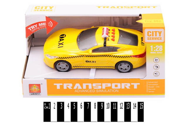 "Машина ""Такси"" инерц., муз. , и  свет. эффек. кор. 22*9,5*12 см 72//, фото 2"