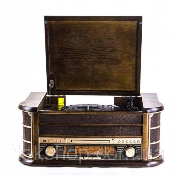 Ретро радіо програвач платівок Карузо AM/FM USB/SD/MMC (Т-402) Дерево