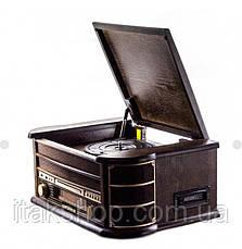 Ретро радіо програвач платівок Карузо AM/FM USB/SD/MMC (Т-402) Дерево, фото 3