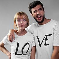 Парные футболки. Футболки для влюбленных. LO VE. Любовь