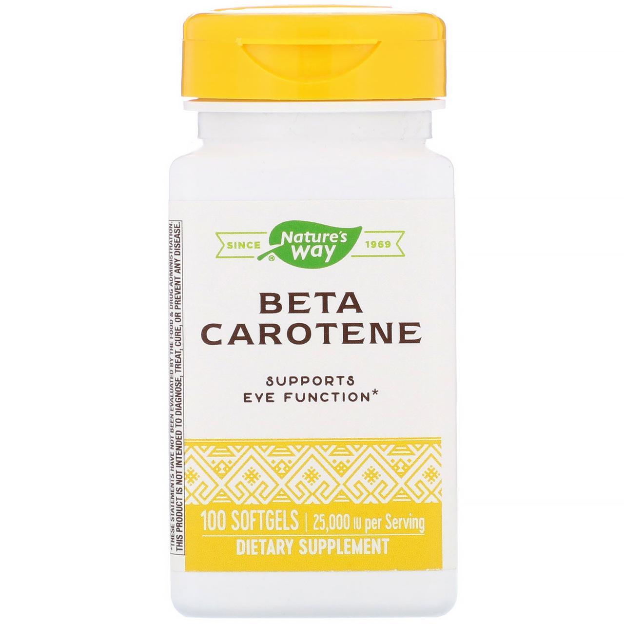 """Бета-каротин Nature's Way """"Beta Carotene"""" 25000 МЕ (100 гелевых капсул)"""