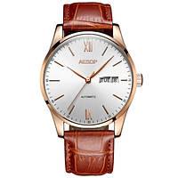 Мужские механические часы Aesop White с автоподзаводом (23 камня, сапфировое стекло)
