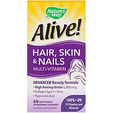 "Витамины красоты Nature's Way ""Alive! Hair, Skin & Nails Multi-Vitamin"" со вкусом клубники (60 гелевых капсул)"