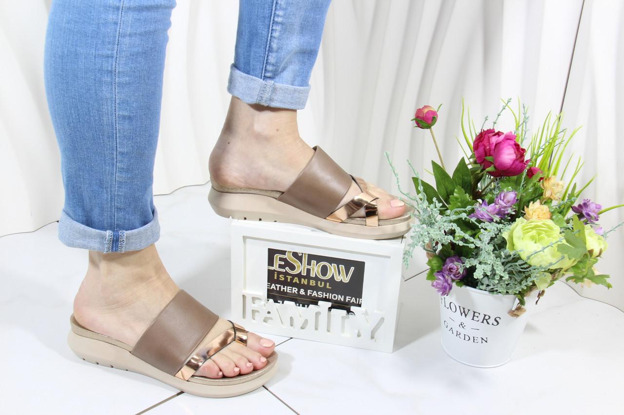 Шлепанцы женские через большой палец 4Shoes 08843-Mink-Gold