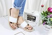 Шлепанцы женские кожаные  08842-White, фото 6