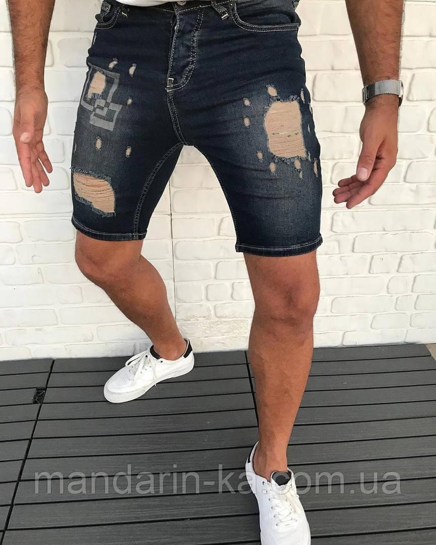 Шорты мужские джинсовые синие рваные