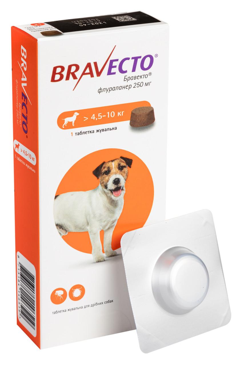 Таблетка от блох и клещей Бравекто Bravecto для собак 4,5-10 кг