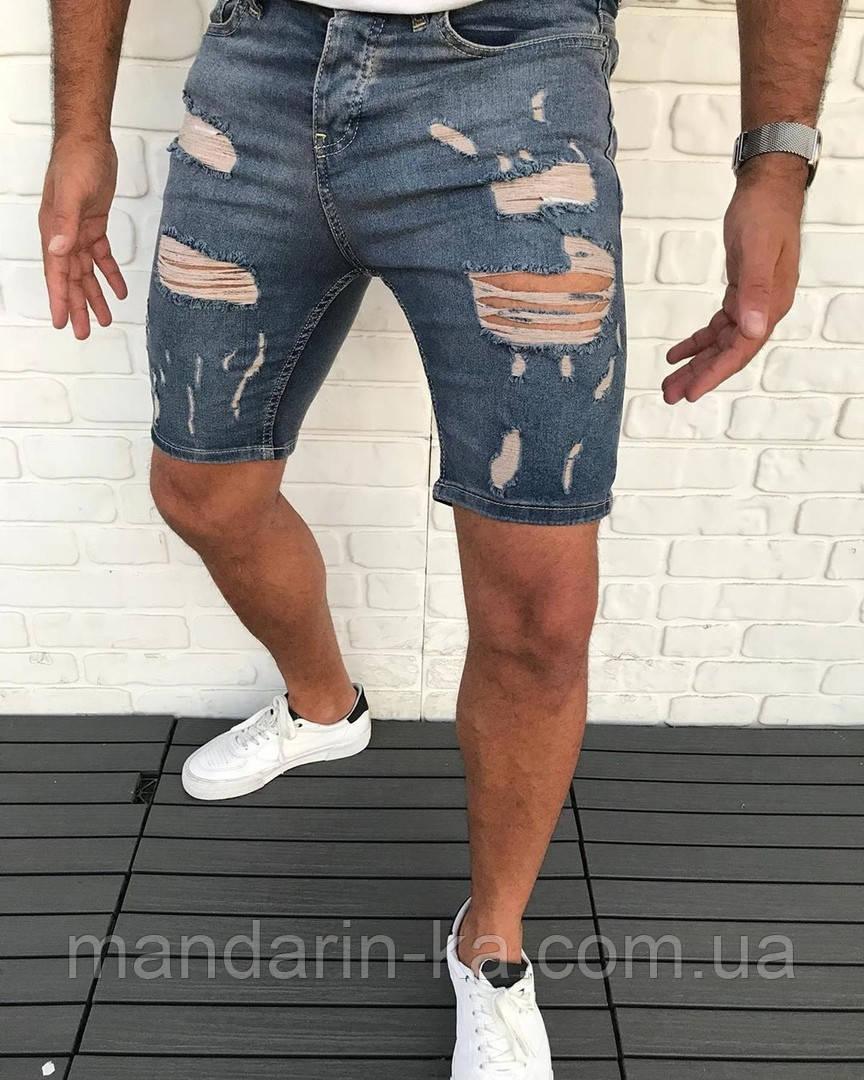 Джинсовые мужские шорты синие рваные