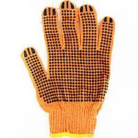 Перчатки рабочие Х/Б оранжевые с ПВХ точкой
