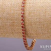 Браслет стразовый з червоними каменями на руку жіночий Xuping Mir-34119