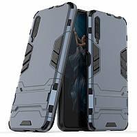 Чехол Hybrid case для Huawei P Smart Pro бампер с подставкой темно-синий, фото 1