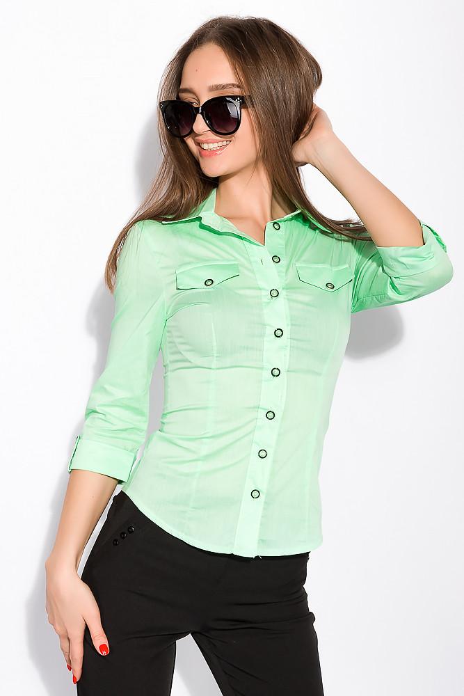 Рубашка женская с рукавом 3/4 118P005 (Салатовый)