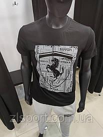 Футболка мужская черная Puma Ferrari Пума Феррари трикотаж LUX реплика