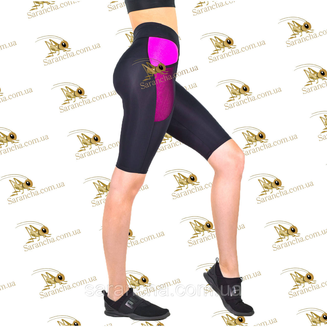 Женские спортивные велосипедки бриджи с карманами черные со вставками фуксия
