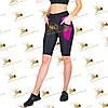 Женские спортивные велосипедки бриджи с карманами черные со вставками фуксия, фото 2