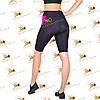 Женские спортивные велосипедки бриджи с карманами черные со вставками фуксия, фото 3