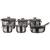 Набор посуды, кастрюль A-PLUS 12 предметов, сковорода, ковшик нержавейка