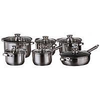 Набір посуду, каструль A-PLUS 12 предметів, сковорода, ковшик нержавіюча сталь