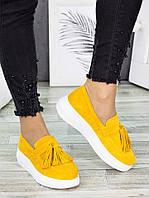 Туфли лоферы женские замшевые горчица