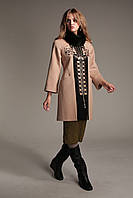 Женское кашемировое пальто на зиму А-35 с натуральным воротником из песца