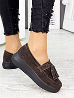 Туфли лоферы женские замшевые кофе
