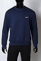 Кофта свитшот трикотажная утепленная мужская Nike 2540 батал синяя реплика