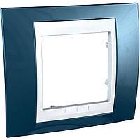 Рамка 1-модульная, голубой лед/белый Unica Plus