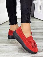 Лоферы женские замшевые красные