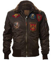 Бомбер Top Gun Official B-15 Men's Flight Bomber Jacket With Patches TGJ1542P (Brown), фото 1