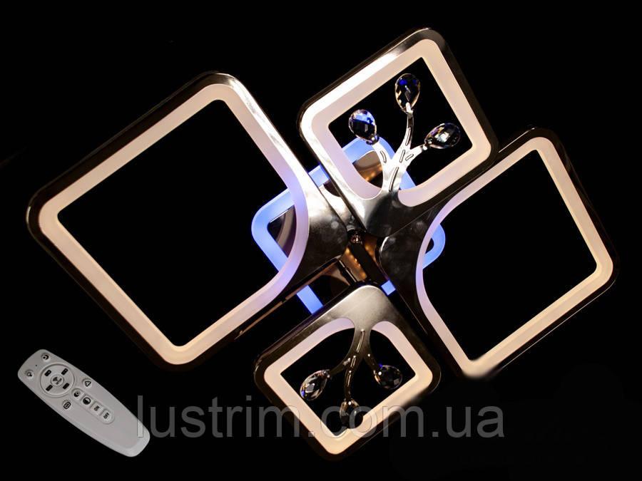 Светодиодная люстра с диммером и LED подсветкой, цвет чёрный хром, 100W