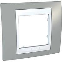 Рамка 1-модульная, туманно-серый/белый Unica Plus