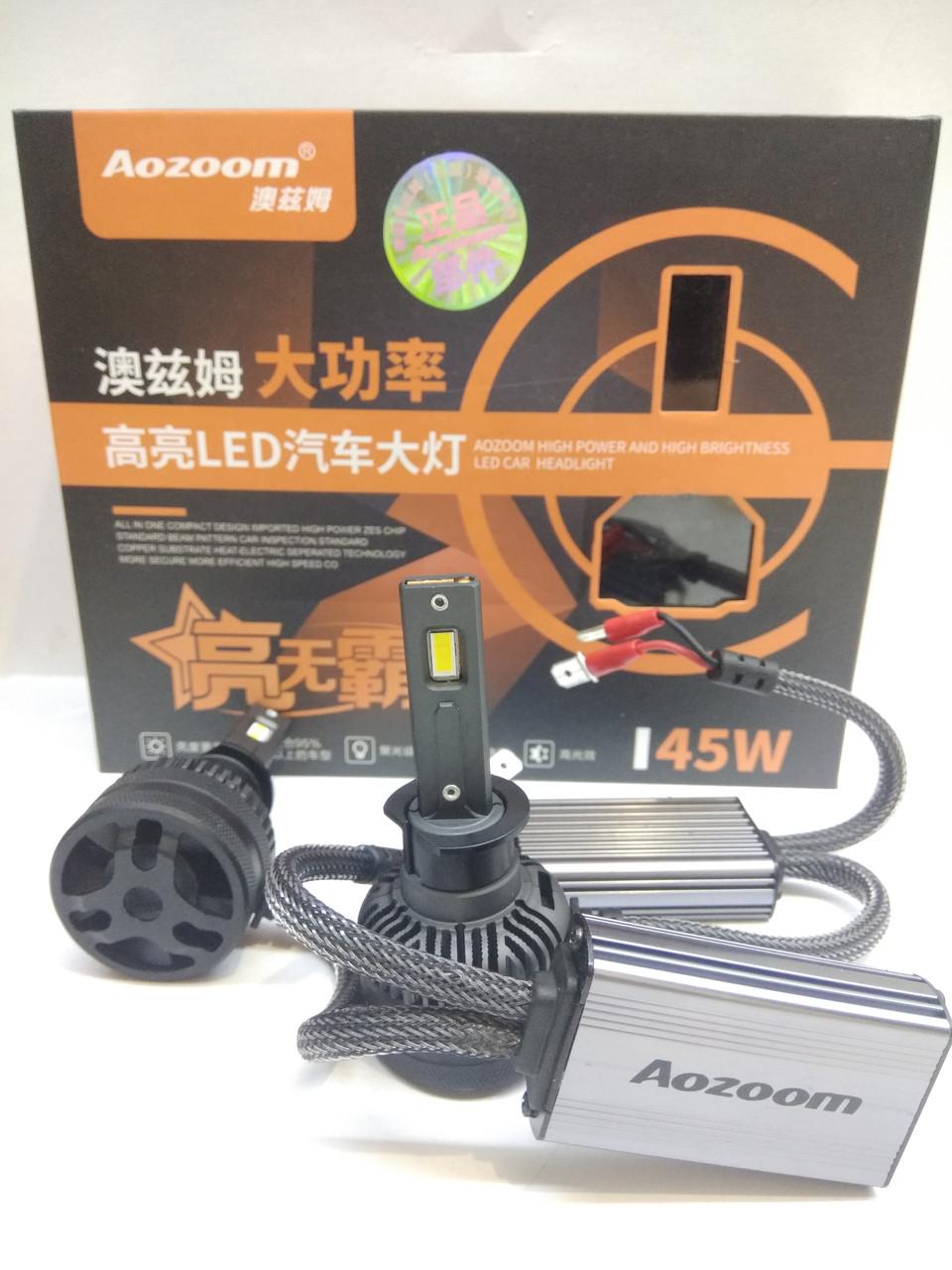 LED светодиодные авто лампы Aozoom L8, Н1, 5500K, 7600 Люмен, 90Вт, 12-24В CANBUS