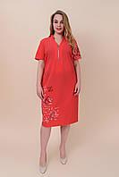 Летнее платье из ткани бенгалин с надписями корал. Большой размер. Размеры 52, 54, 56, 58.  Хмельницкий, фото 1