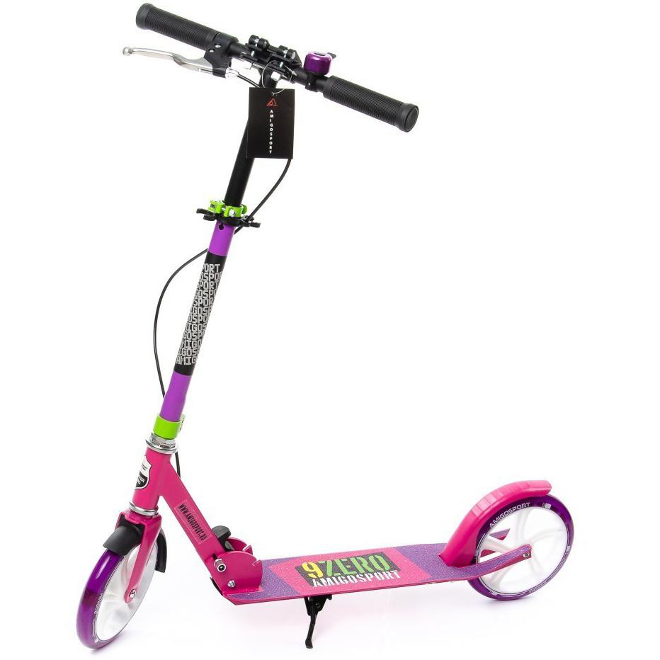"""Двухколёсный самокат AmigoSport """"Glider"""" с ножкой и ручным тормозом, Розовый"""
