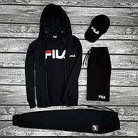 Спортивный костюм Fila x black мужской осенний / весенний ТОП качества