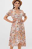 Шифоновое платье в цветочек с короткими рукавами Алеста, фото 2
