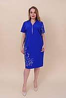 Летнее платье из ткани бенгалин с надписями электрик. Большой размер. Размеры 52, 54, 56, 58.  Хмельницкий, фото 1