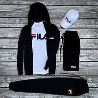Спортивный костюм Fila x black-white  мужской весенний / летний ТОП качества