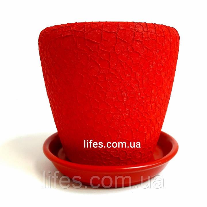 Вазон керамический красный шелк 1.2л