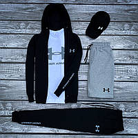 Спортивный костюм Under Armour x black-white  мужской весенний / летний ТОП качества