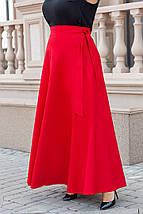 Юбка из костюмной ткани конического силуэта, на запах, завязывается поясом. Oversize(48-56) код 3239Ф, фото 2