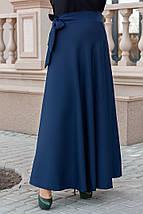 Юбка из костюмной ткани конического силуэта, на запах, завязывается поясом. Oversize(48-56) код 3239Ф, фото 3
