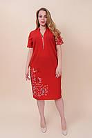Летнее платье из ткани бенгалин с надписями красный. Большой размер. Размеры 52, 54, 56, 58.  Опт \ розница, фото 1