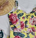 Жовтий жіночий сарафан з квітковим принтом, фото 3