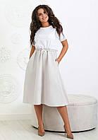 Сукня вільного крою з смугастої спідницею жіноче ПОЛУБАТАЛ (ПОШТУЧНО)