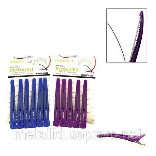 Зажимы для волос Termax H053 (комбинированные с резинкой) 6 шт/уп